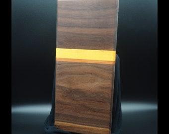 Small Cutting Board, Walnut with Osage Orange and Cherry, Bar Board