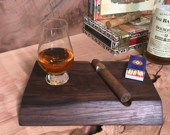 Walnut Glencairn Whisky and Cigar Tray, includes genuine Glencairn glass, and free laser engraving