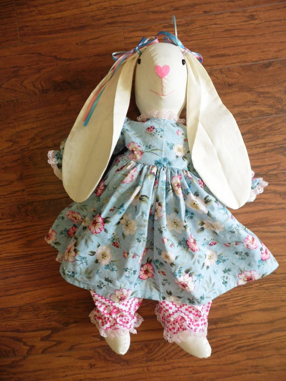 and strawberry pinafore bloomers Handmade bunny in pink dress