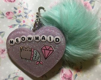 """Purple """"Meowmaid"""" Keychain"""
