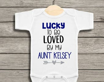 Baby gifts from aunt etsy personalized lucky to be loved by my aunt baby bodysuit bodysuit for aunt gift from aunt new baby gift custom aunt negle Image collections