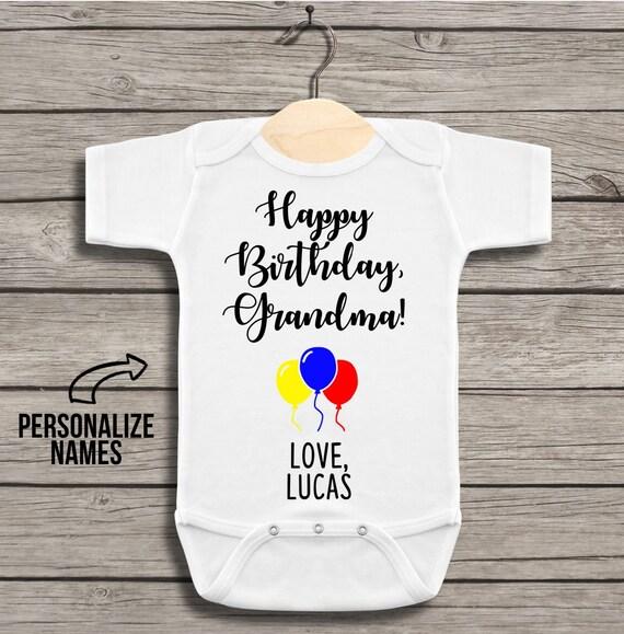 Happy Birthday Grandma Gender Neutral Bodysuit For Baby With Balloons