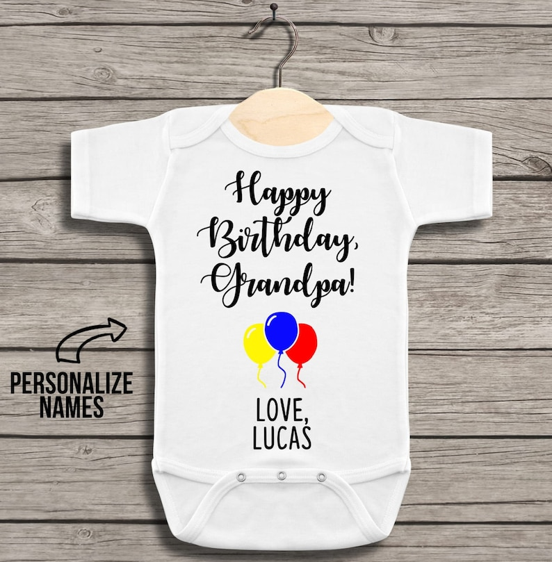 Happy Birthday Grandpa Gender Neutral Bodysuit For Baby With