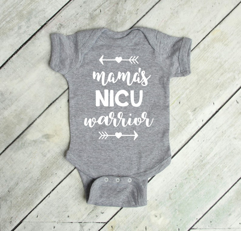 Mama S Nicu Warrior With Hearts And Arrows Onesie Nicu Going Home Outfit Premie Bodysuit Nicu Baby Girl Bodysuit Gift For Preemie Baby