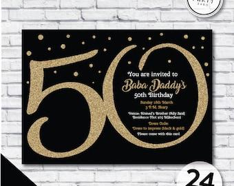50th invites Etsy