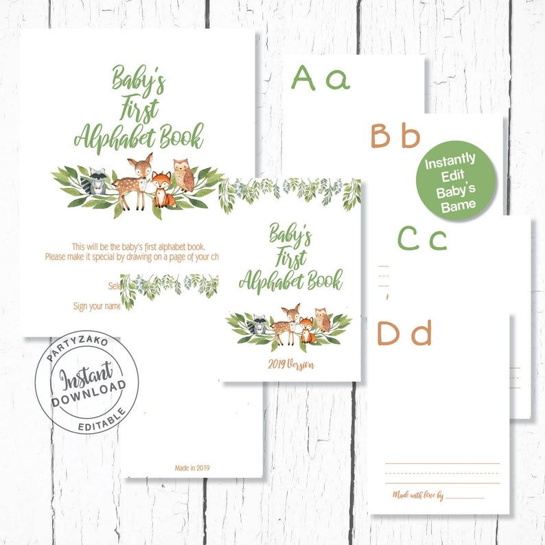 picture relating to Printable Abc Book titled Woodland Babys Very first Alphabet printable E book, Woodland ABC E-book, Woodland printable Alphabet Guide, Forest Alphabet printable Reserve
