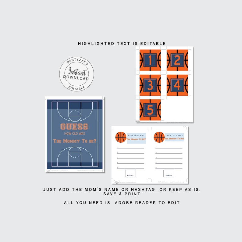 Basketball Baby Shower poster games \u2022 Advice for mom \u2022 Guess the baby food \u2022 Drop your books \u2022 diaper raffle Forest shower games