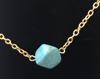 Turquoise Faceted Beaded Necklace