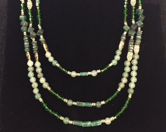 Green and Gold Beaded Necklace