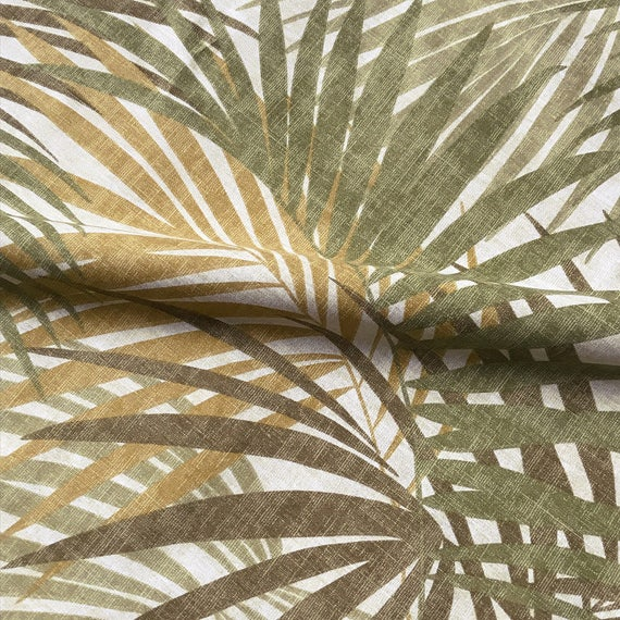 Tropical Palm Leaf Print Upholstery Fabric Etsy