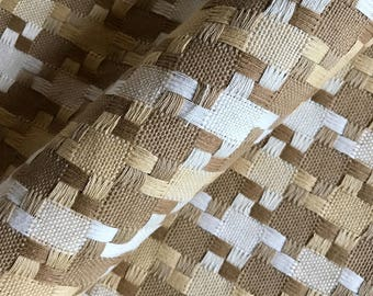 Taupe Cream Woven Damask Upholstery Fabric