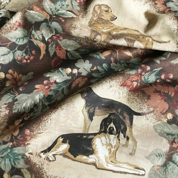 Hunting Dog Cotton Print Upholstery Fabric Etsy
