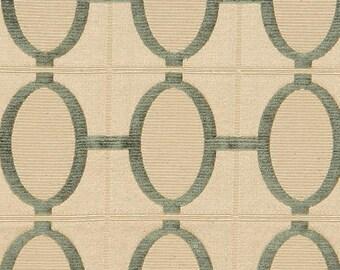 Cream and Sage Green Geometric Upholstery Fabric