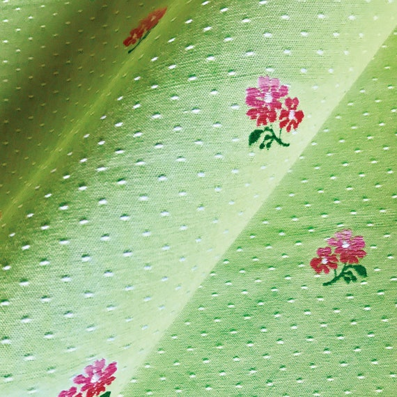 Spring Green With Pink Floral Upholstery Fabric Etsy