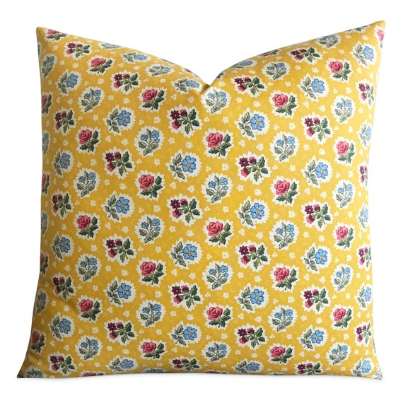 Yellow Bright Floral Decorative Pillow Cover 40 X Etsy Impressive Bright Yellow Decorative Pillows