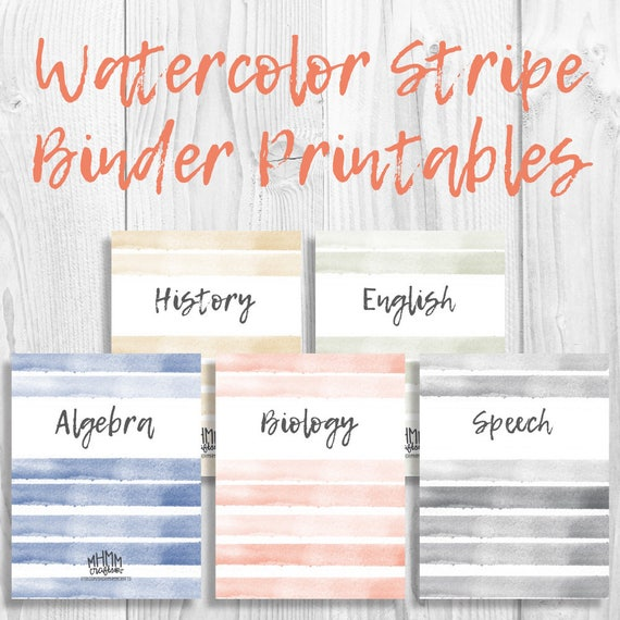 Set Of 5 Printable Binder Covers/Inserts W/ Spines Free Font