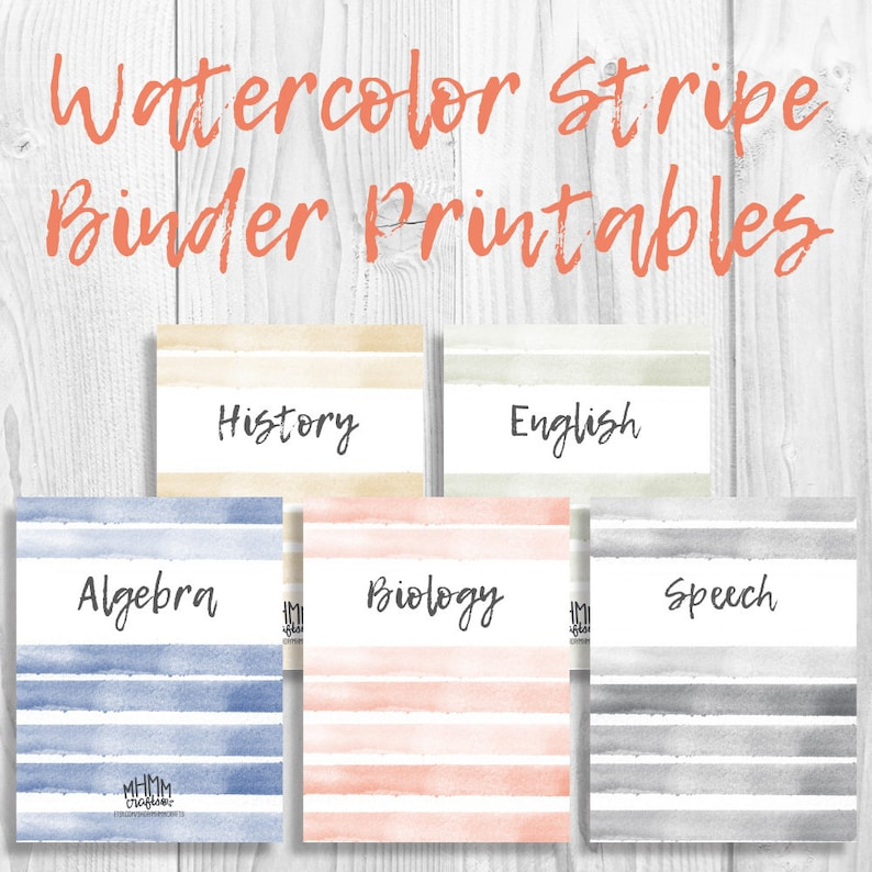 image regarding Printable Binder Inserts identified as Fastened of 5 Printable Binder Addresses/Inserts w/ Spines Totally free Font  Customizable Watercolor Stripe 5 Hues Immediate Obtain MhmmCrafts