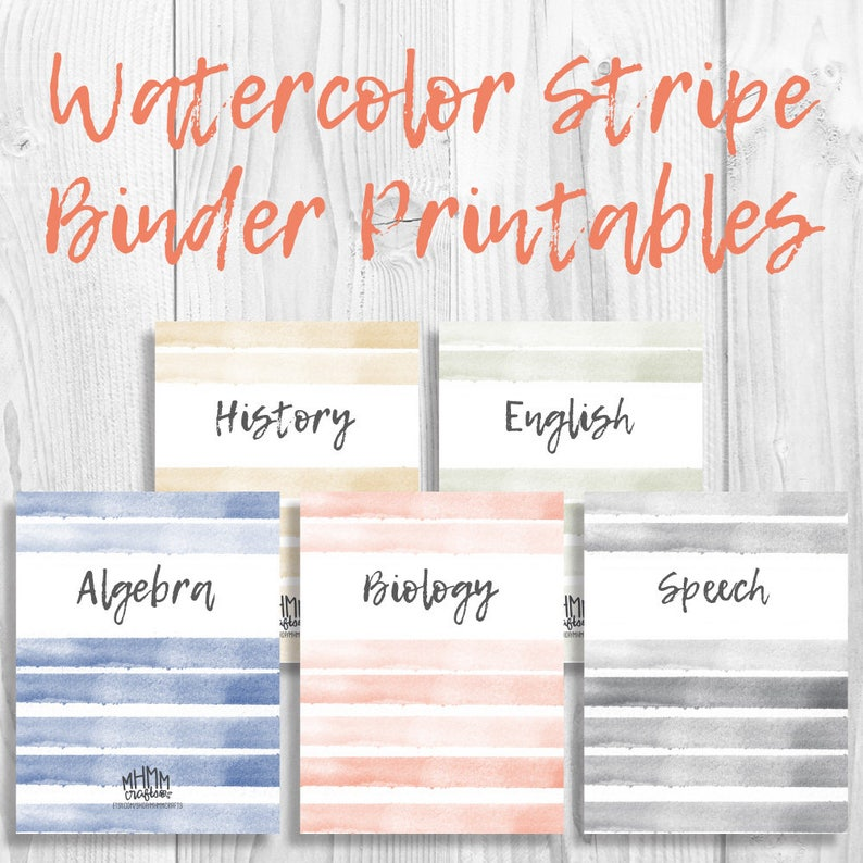 image relating to Free Printable Binder Covers and Spines identified as Fixed of 5 Printable Binder Handles/Inserts w/ Spines Cost-free Font  Customizable Watercolor Stripe 5 Colours Immediate Down load MhmmCrafts