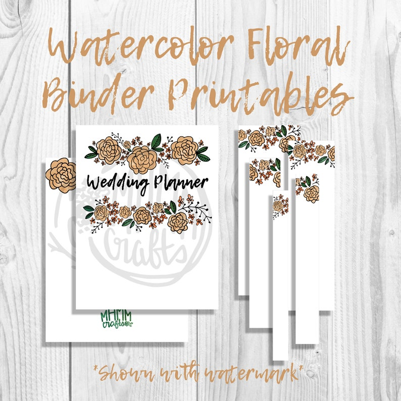 picture regarding Free Printable Customizable Binder Covers called Yellow Watercolor Bouquets Binder Addresses/Inserts w/ Spines Absolutely free Font  Customizable Quick Obtain MhmmCrafts