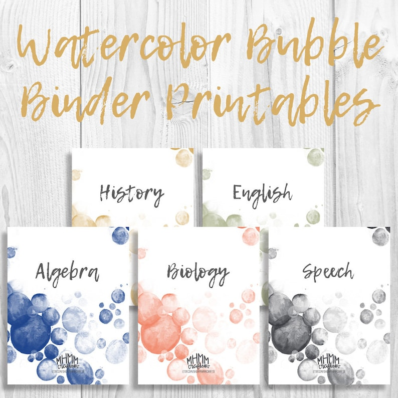 photo relating to Free Printable Binder Covers and Spines identified as Fastened of 5 Printable Binder Include/Inserts w/ Spines Absolutely free Font  Customizable Watercolor Bubbles 5 Shades Quick Down load MhmmCrafts