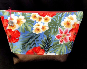 Cosmetic bag * Tropical flowers * XL Synthetic leather Bronze makeup bag