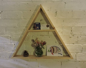 Floating Wooden Triangle Shelf Rustic pallet Reclaimed Timber Chunky