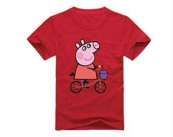 Peppa Pig Riding A Bike T-Shirt for children - available in many sizes and colors
