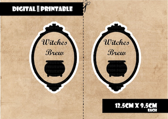 Printable Wine Beer Cider Labels Template Downloadable Pdf Hd Witches Brew Vintage Steampunk Gift