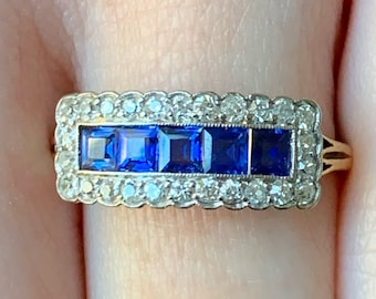 Edwardian/Art Deco sapphire and diamond ring from about 1920