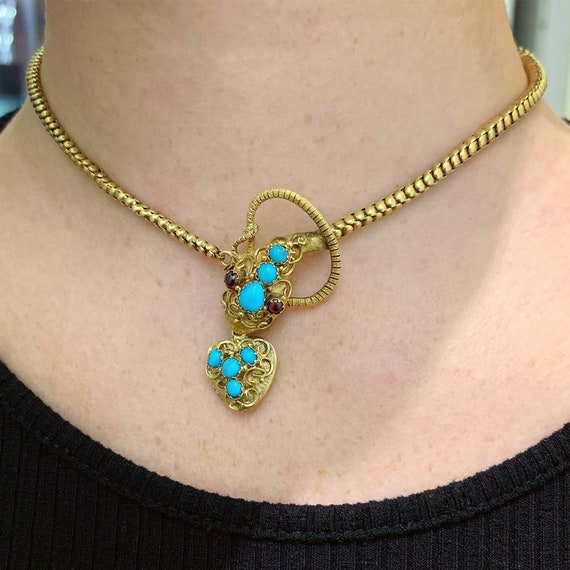 Antique mid-Victorian turquoise and garnet snake n