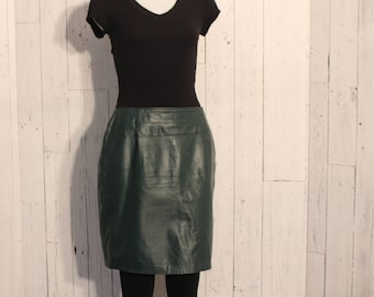1980s Green Leather Skirt