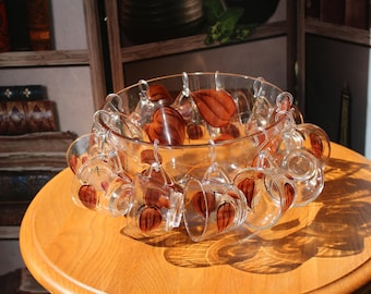 Vintage Hand Painted Punch Bowl with 12 Cups