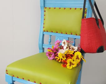 Vibrant painted and re-upholstered antique chair - Please see full description for shipping fee.