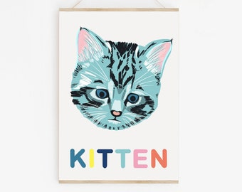 Kitten, Little baby tabby cat print, blue