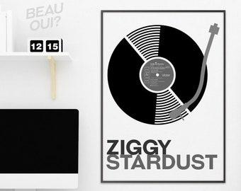 Bowie - Ziggy Stardust album B+W poster