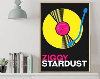 Bowie - Ziggy Stardust album CMYK poster