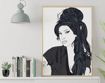 Amy Winehouse, B+W Portrait, female singer, icon