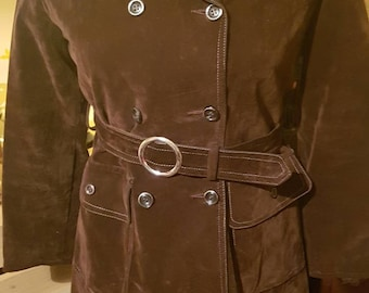 Twiggy Vintage suede/original xs ladies or Teenagers brown lined 1960/70s trench coat eith matching belt.