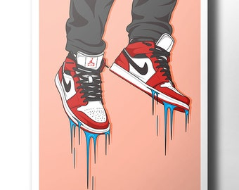 buy online 82906 fa149 Nike Air Jordan sneaker poster   wall art   nike trainer   dope art    street wear   original nike   artwork   nike print   sneakers