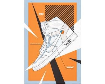 5f0d35ddf6 279c5 234ac; usa nike air jordan 1 off white canvas off white trainer  sneaker art wall art nike