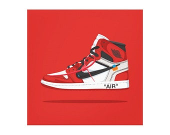 lowest price c189a a2a97 Nike Air Jordan 1 Off White canvas   off-white   Trainer   Sneaker Art    wall art   nike trainer   original nike   sneaker canvas   dope art