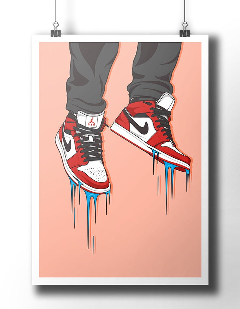 watch 692e5 c9d86 Nike Air Jordan sneaker poster   wall art   nike trainer     Etsy
