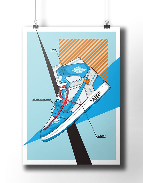 Nike Air Jordan 1 Off White affiche off white Trainer Sneaker Art wall art nike trainer original nike sneaker poster dope art