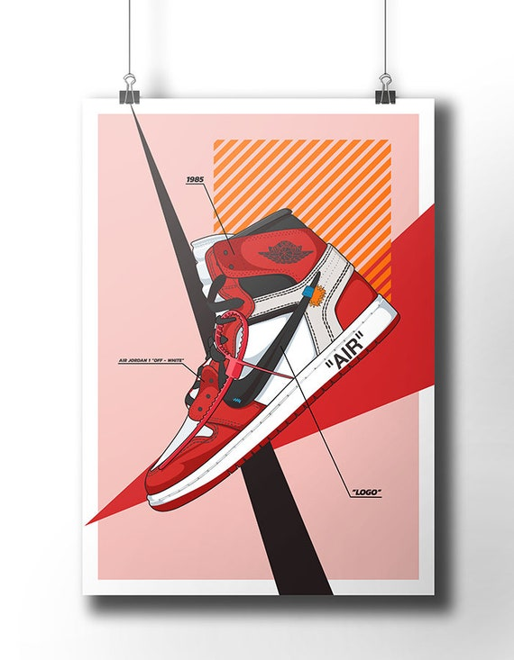 Nike Air Jordan 1 Off White Poster / Off White / Trainer / Sneaker Art / Wall Art / Nike Trainer / Original Nike / Sneaker Poster / Dope Art by Etsy