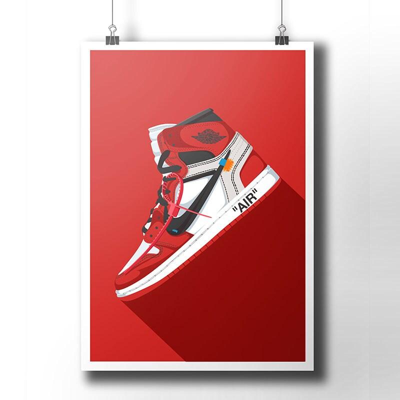 2ad63fdf300 Nike Air Jordan 1 Off White poster / off-white / Trainer / | Etsy