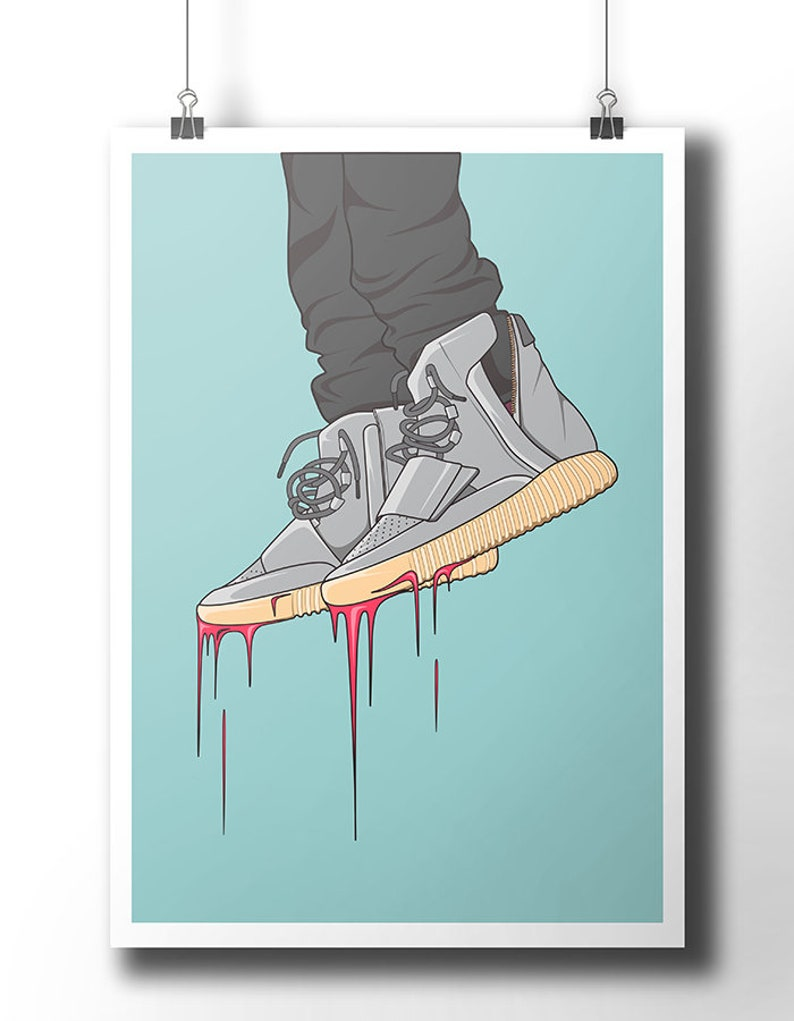 90a995eba Yeezy Boost 750 sneakers poster   wall art   wall decor   hip