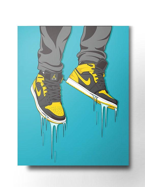Baskets de Nike Air Jordan toile art mural formateur nike dope art rue porter original nike oeuvre nike Print baskets