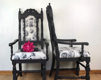 alice in wonderland furniture. Matching Chairs, Alice In Wonderland Bedroom Painted Furniture, Hallway Black Carved Chairs Furniture