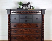 Black and Burr Walnut Large Chest of Drawers