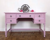 Pale Pink and White Dressing Table by Jaycee Furniture, Ladies Writing Desk or Dressing Table